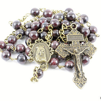 Wire Wrapped Rosary Garnet Bronze Pardon Traditional Catholic
