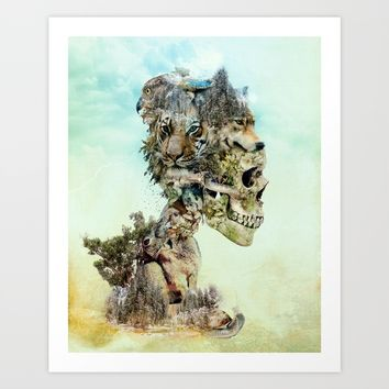 Nature Skull Art Print by RIZA PEKER