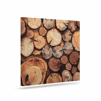 "Susan Sanders ""Rustic Wood Logs"" Brown Tan Canvas Art"