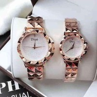 DCCKNQ2 DIOR Lover Couple Fashion Diamonds Quartz Movement Watch WristWatch1