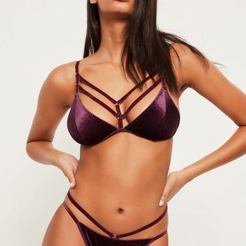 Missguided - Purple Velvet Harness Detail Triangle Bra