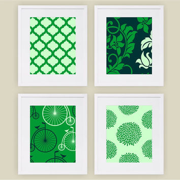 "8""x10"" & up,Set of (4), Green Art Print, Flower/Retro Bike Wall Art Prints, Living Room Art Print,Modern/Vintage Home Decor,Nursery/Kids Art"