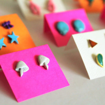 12x Pair of Fun Shapes Vintage 80s Studs (pierced)