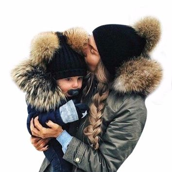 2017 Winter Mom&Newborn Faux Fur Ball Hat Baby Boy Girls Warm Double Fur Pom Pom Hat For Women and Baby Knit Beanie Hat Cap F3