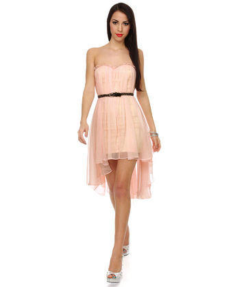 Blaque Label Chiffon Dress - Pink Dress - High Low Dress - Strapless Dress - $128.00