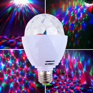 New Cute 3W LED Bulb Mini E27 Crystal Magic Ball Rotating Disco DJ RGB Lighting AP = 1645644292