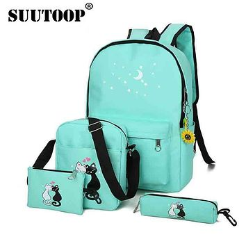 suutoop children Cute Cat Print Backpacks for Teenager School bags Unisex Rucksack Girl Shoulder Bag School backpack 4 piece/set
