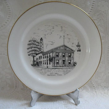 Commemorative Plate Illinois City Hall Beardstown, World Wide Art Studio Souvenir Plate
