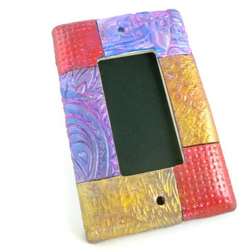 Mosaic switch plate cover polymer clay metallics and textures