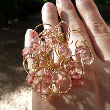 Crystal ring and nugold brass wire , hammered fluffy swirls ring . statement ring ,  art ring , adjustable ring , romantic jewelry ,
