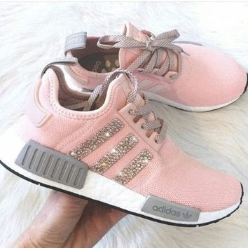 Adidas NMD Fashion Glittering Breathable Running Sports Shoes Sneakers pink shining H