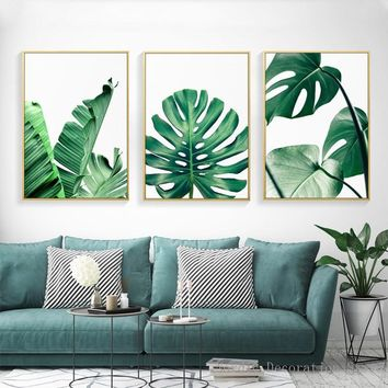 Posters Nordic Green Plant Posters And Prints Turtle Leaf Canvas Prints Wall Art Wall Pictures For Living Room Decor Unframed