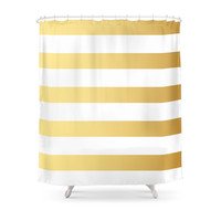 Society6 Gold Strip Shower Curtain