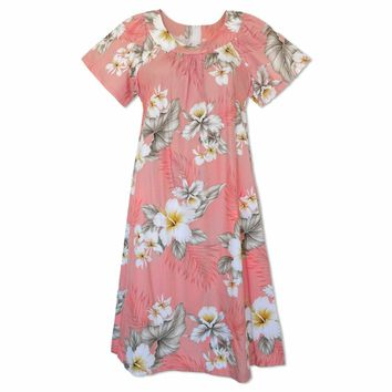 Hibiscus Joy Pink Cotton Hawaiian Muumuu Dress