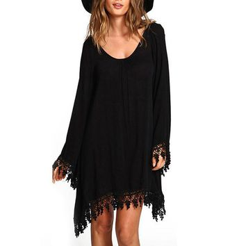 2017 Sping Summer Women Beach Dresses Casual Loose Long Sleeve Tassel Black Party Dress vestidos Summer Boho Maxi Office Dresses
