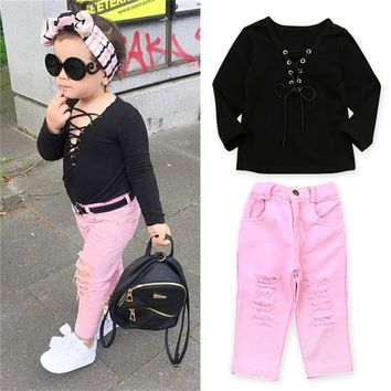 Fashion Children Clothes Set 2017 Fall Sexy Baby Girl Bandage Tops+Ripped Jeans Pants 2pcs Bebes Outfits Cute Girl Clothing Set