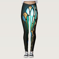 Blue and yellow stained glass pattern leggings