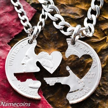Key to my Heart necklace, Couples Jewelry, Interlocking love quarter by Namecoins