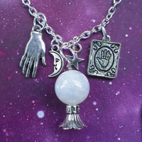 Rainbow Moonstone Crystal Ball Palm Reader necklace