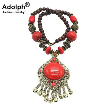 ADOLPH Star Jewelry Ethnic Wood Stone Geometry Pendants Choker Boho Necklace Female Bohemian Statement Maxi Necklace Accessories