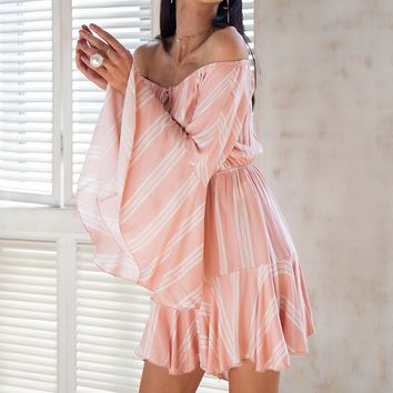 Stripe Off Shoulder Flared Sleeve Flowy Romper