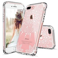iPhone 7 Plus Case, MOSNOVO White Henna Mandala Floral Lace Clear Design Printed Transparent Hard Plastic with Soft TPU Bumper Protective Back Phone Case Cover for iPhone 7 Plus (5.5 Inch)