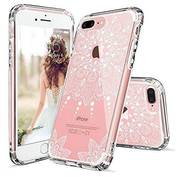 iPhone 7 Plus Case, iPhone 7 Plus Clear Case,MOSNOVO White Henna Mandala Floral Lace Clear Design Printed Transparent Hard Case with TPU Bumper Protective Back Case Cover for iPhone 7 Plus (2016)