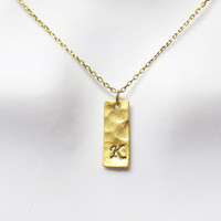 Rectangle, Personal, Letter, Initial, Bar, Gold, Silver, Necklace, Custom, Hand stamped, Initial, Necklace, Modern, Minimal, Gift