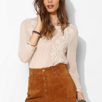 BDG Suede Foxy Exposed-Button Short - Urban Outfitters