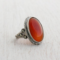 Antique Art Deco Carnelian Glass & Marcasite Ring - Vintage Size 4 3/4 Sterling Silver Jewelry / 1920s Oval Red
