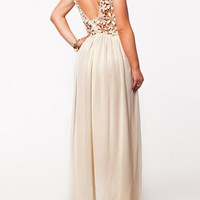 Apricot Floral Lace Backless Maxi Dress