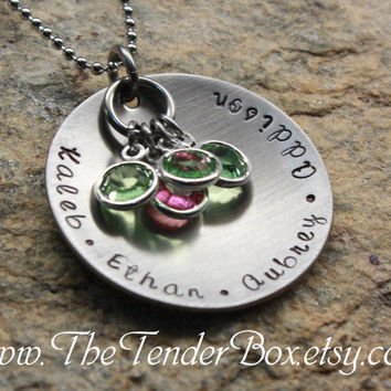 Free Shipping Mothers Necklace personalized hand stamped jewelry necklace with Swarovski birthstones