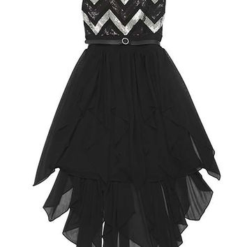Girls Party Dress Black and Silver Chevron Sequined