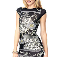 Printed Short Sleeve Bodycon Dress