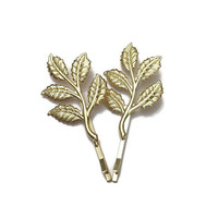 14K Gold Leaf Hair Clip, Woodland Wedding Gold Hair Pin, Five Leaf Hair Clip, Wedding Hair Clip Bridesmaids Gifts Valentine's Day Gift