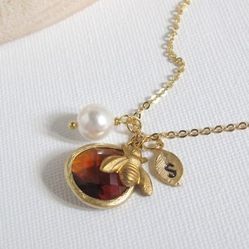 Personalized Summer Bee Necklace, Hand stamped Initial Leaf Charm, Swarovski Pearl, Smoked Topaz Glass Jewel. Honey Bee, Bumble Bee Charm
