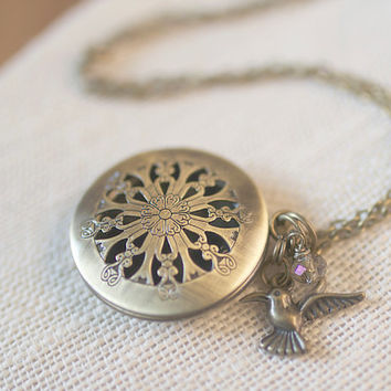 Antique Round Brass Locket Hummingbird Crystal Charm Bridesmaid Vintage Wedding
