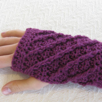 Crochet PATTERN Fingerless Gloves Spirals by kickincrochet