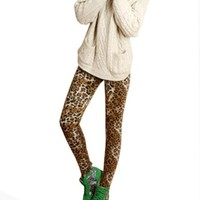New Womens/girls Nordic Snow Knitted Warm Leggings Tights Pants (B)