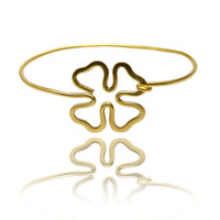 Clover bangle bracelet , gold bracelet
