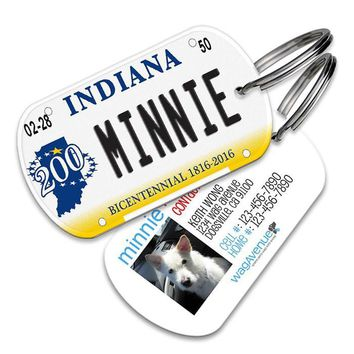 Indiana License Plate Pet Tag