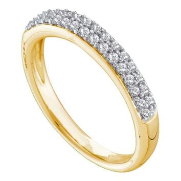 14kt Yellow Gold Womens Round Pave-set Diamond Double Row Wedding Band 1/4 Cttw