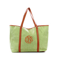 Clearance Monogrammed Green Woven and Leatherette Large Tote Bag 35% Off Retail Price of $24.95 Now Only $16.21 While Supplies Last