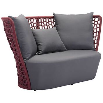 Zuo Faye Bay Beach Cranberry and Gray Outdoor Sofa - #1Y227 | Lamps Plus