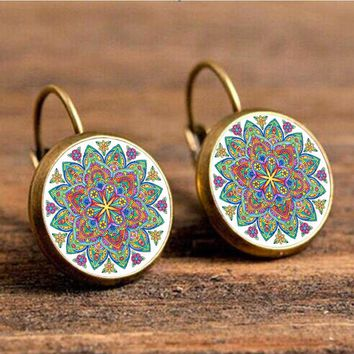 Vintage mandala flower enamel earrings for hand made women jewelry earrings charm yoga om symbol Zen Buddhism India earring
