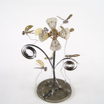 "Mechanical Sculpture ""Swarm"" Clockwork Watch Parts Flower Flies Gnats Gershenson-Gates Assemblage Gears Springs Bees Insects Steampunk Art"