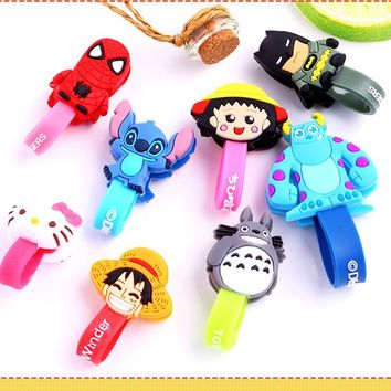 100pcs/lot Cartoon Cable Winder Earphone Data Line Cable Cord Organizer Holder Mouse Keyboard Silicone Winder for Computer