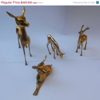Vintage Reindeer Figurines Buck, Doe, Fawns- Christmas Decor - Reindeer - Vintage Style - Home Decor -