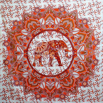 Mandala Elephant Tapestry Hippie Bohemian Throw Handmade Beach Blanket Dorm Decor Wall Hanging Blue Orange