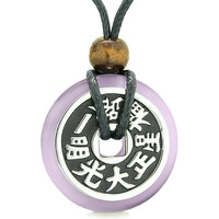 Large Double Lucky Reversible Fortune Coin Donut Purple Simulated Cats Eye Feng Shui Pendant Necklace